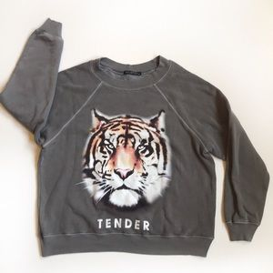 Wildfox Gray tiger tender sommers Sweatshirt XS